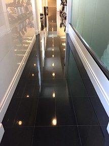 Black granite spa floor