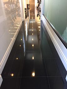 Black granite spa floor
